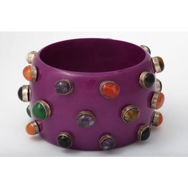 Gemstone Purple Bangle Bracelet For Sale - Image 7 of 8