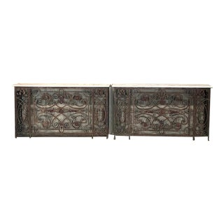 Pair 19th Century Wrought Iron Marble Top Consoles For Sale