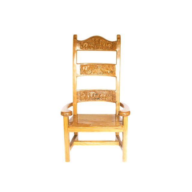 1990s Abstract Railroad Hand Carved Yellow Jarrah Wood King Throne For Sale