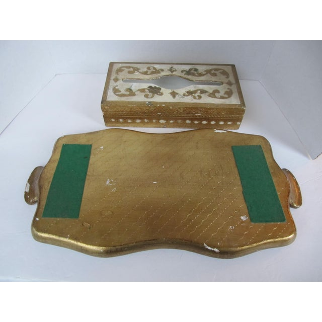 1960s Florentine Tissue Box Holder & Tray For Sale - Image 5 of 8
