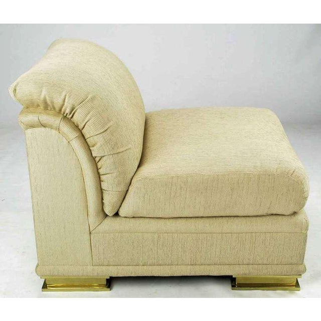 Pair of Henredon Deco Revival Slipper Chairs in Taupe Silk and Brass For Sale In Chicago - Image 6 of 10