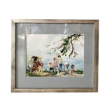 "Image of Artist Watercolor ""Beach Scene With Children"" Professionally Framed For Sale"