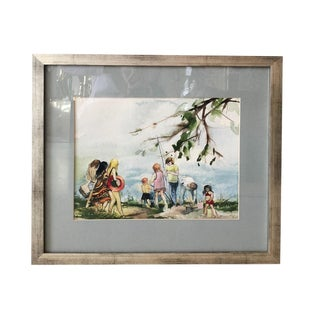 """Artist Watercolor """"Beach Scene With Children"""" Professionally Framed For Sale"""