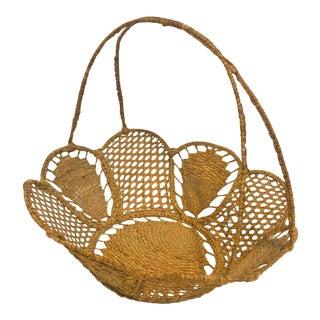 Vintage Hand-Woven Basket For Sale
