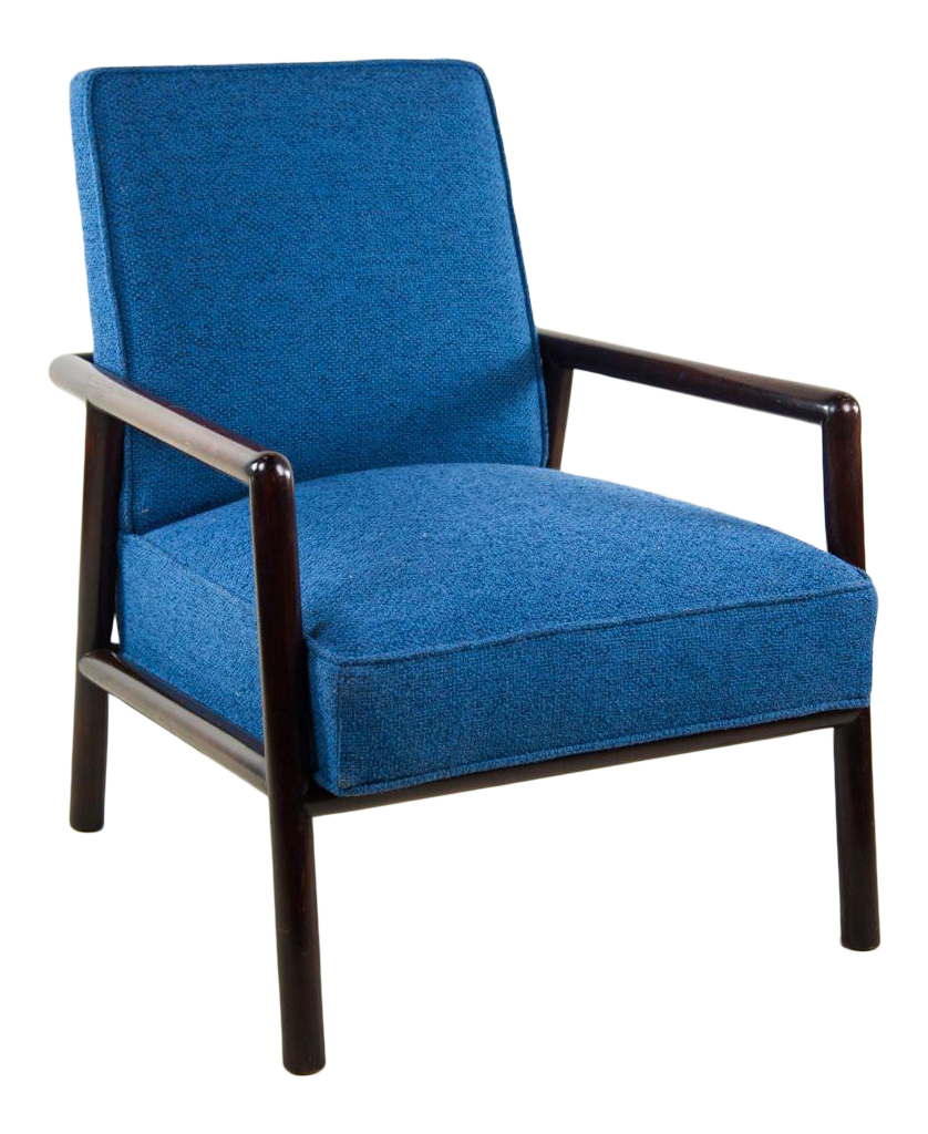 Jens Risom For Knoll Mid Century Modern Blue Lounge Chair