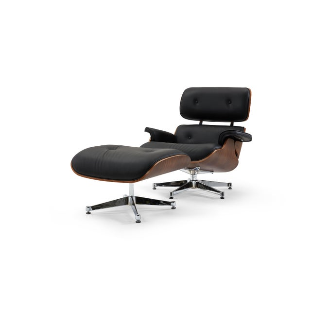 Pasargad's Florence Black Leather Lounge Chair & Ottoman For Sale - Image 10 of 10