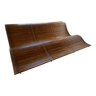 Original Michael Zelehoski for Discomoderno Wood Wave Slat Lounge For Sale