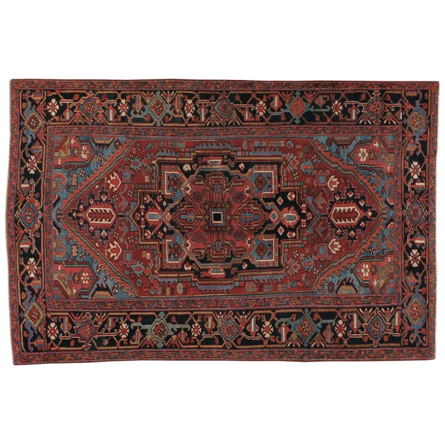 "Vintage Persian Heriz Rug - 6'8"" X 10'2"" For Sale"
