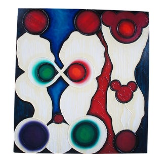 """""""Shower"""" Contemporary Abstract MickeyOil Painting on Linen by Matthew Weinstein, 1992 For Sale"""