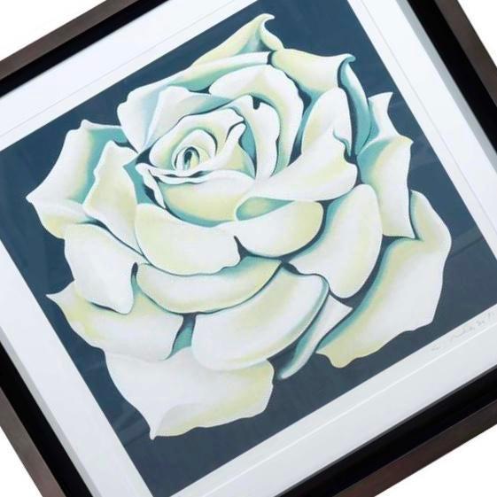 Lowell Nesbitt 1980's Limited Edition White Rose Lithograph in Custom Frame by Lowell Nesbitt For Sale - Image 4 of 10