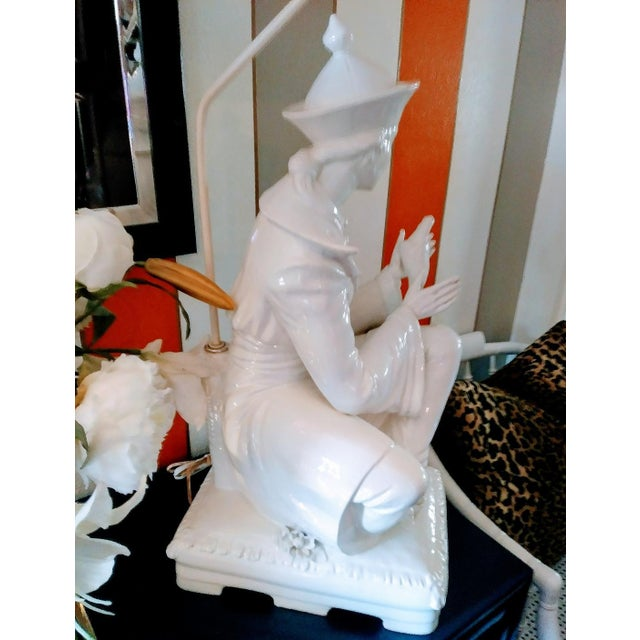 Italian Rare Vintage Monumental Italian Ceramic St Francis of Assisi White Massive Table Lamp For Sale - Image 3 of 10