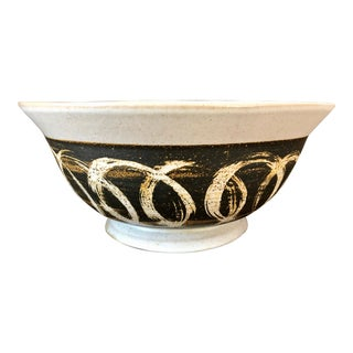 1970s Mid Century Modern Stoneware Serving Bowl For Sale