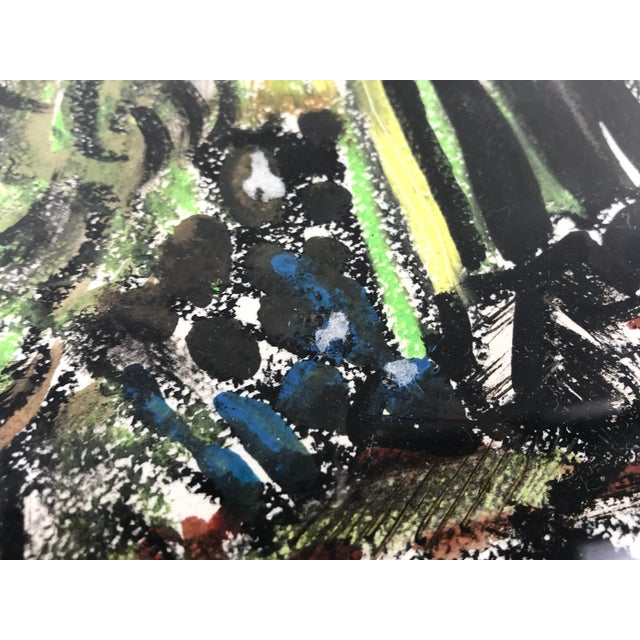 """1996 Small English Abstract """"Green House"""" Framed Painting For Sale - Image 9 of 11"""