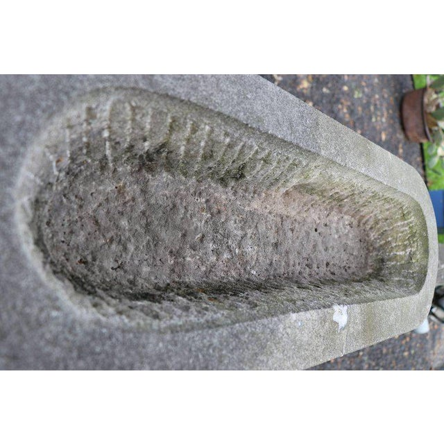 Hand-Carved Bluestone Oval Planter For Sale - Image 4 of 6