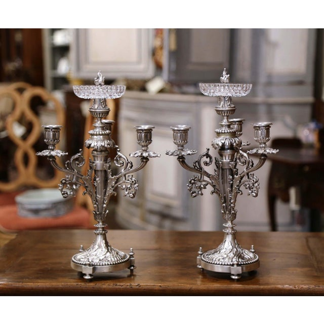 Pair of 19th Century French Silvered Bronze Candelabras and Crystal Bobeche For Sale - Image 4 of 13