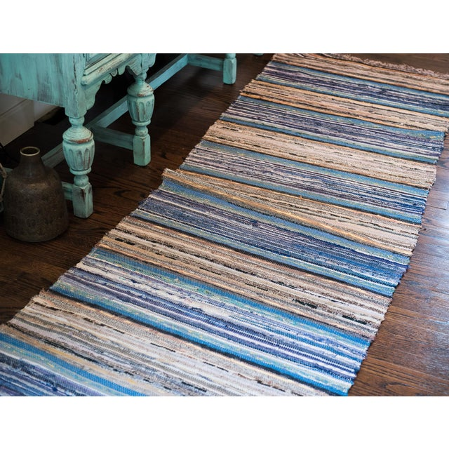 "Handwoven Reversible Vintage Swedish Rug by Scandinavian Made 154"" x 32"" For Sale - Image 4 of 7"