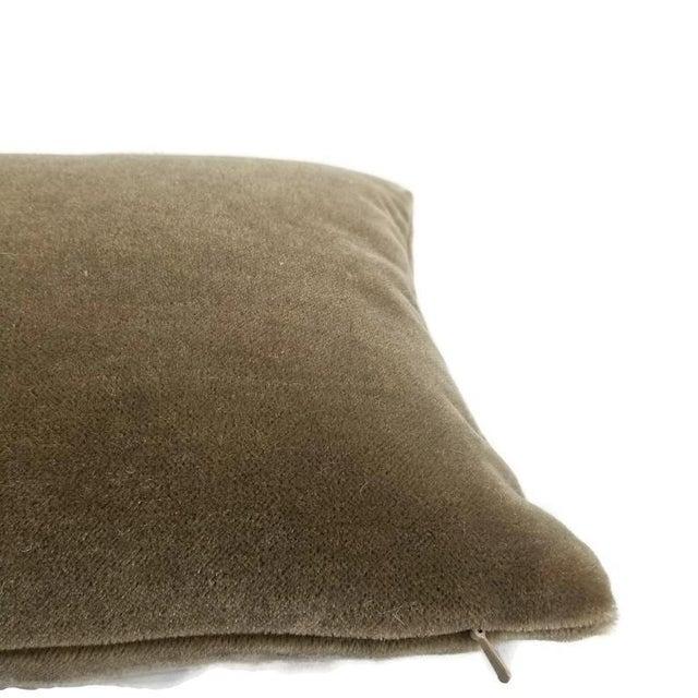 """S. Harris Melrose Mohair Velvet in Linen Lumbar Pillow Cover - 12"""" X 20"""" For Sale - Image 4 of 5"""