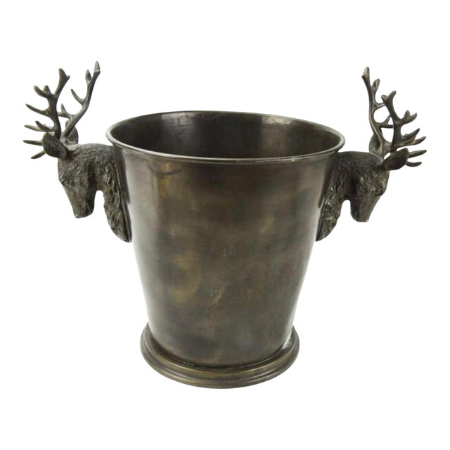 1990s Bronze Stag Horn/Deer Head Champagne Wine Bucket For Sale