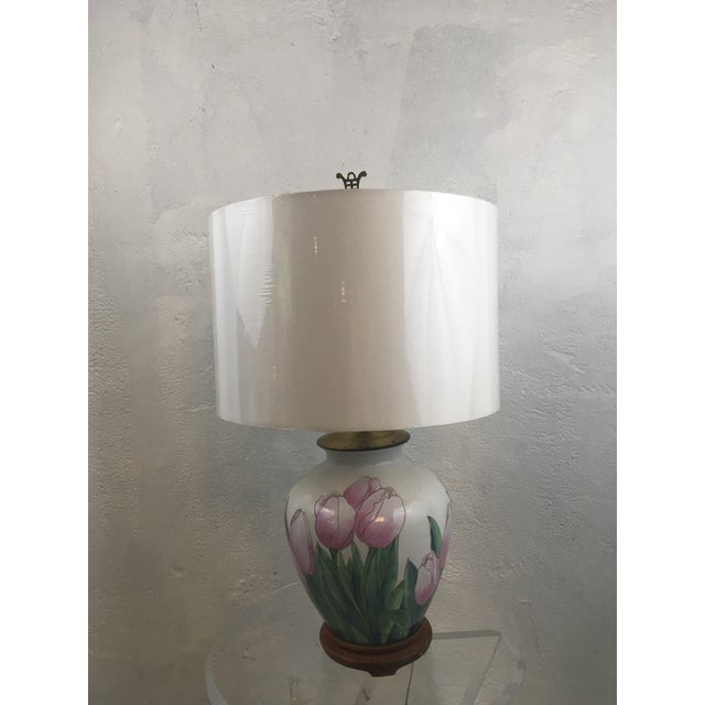 This is a happy lamp! Beautiful colors, tulip design. New wrapped shade included