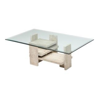 Travertine Postmodern Coffee Table - 1970s For Sale