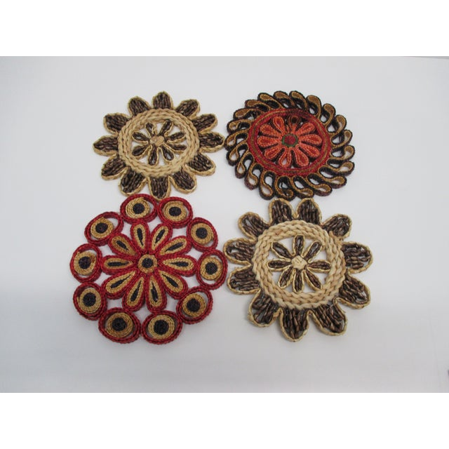 Taupe Vintage Set of Four (4) Small Woven Abaca Round Trivets in Natural Fiber For Sale - Image 8 of 8
