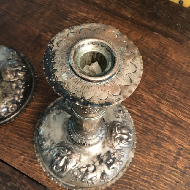 18th Century Silver on Copper Repousse Swedish Candle Holders - a Pair For Sale In Minneapolis - Image 6 of 13