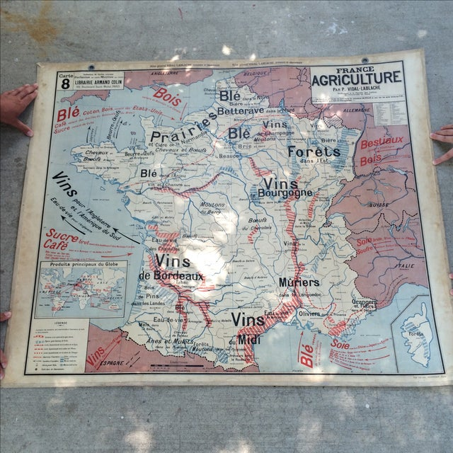 1950s French double-sided school map of France. One side is of Industrial sites and the other side is of Agricultural...