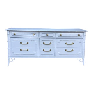 Thomasville Allegro Lacquered White Dove Faux Bamboo 9 Drawer Dresser