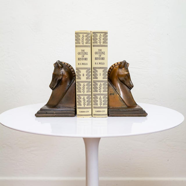 Copper Trojan Horse Bookends | Art Deco Copper Plated For Sale - Image 8 of 10
