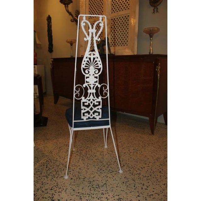 French Art Deco White Lacquered Iron Dining Chairs - Set of 6 - Image 8 of 10