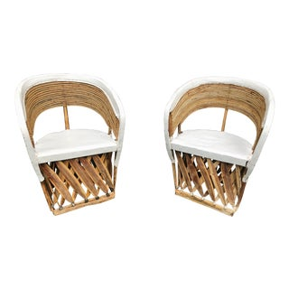 A Pair of Safari White Leather Chairs For Sale