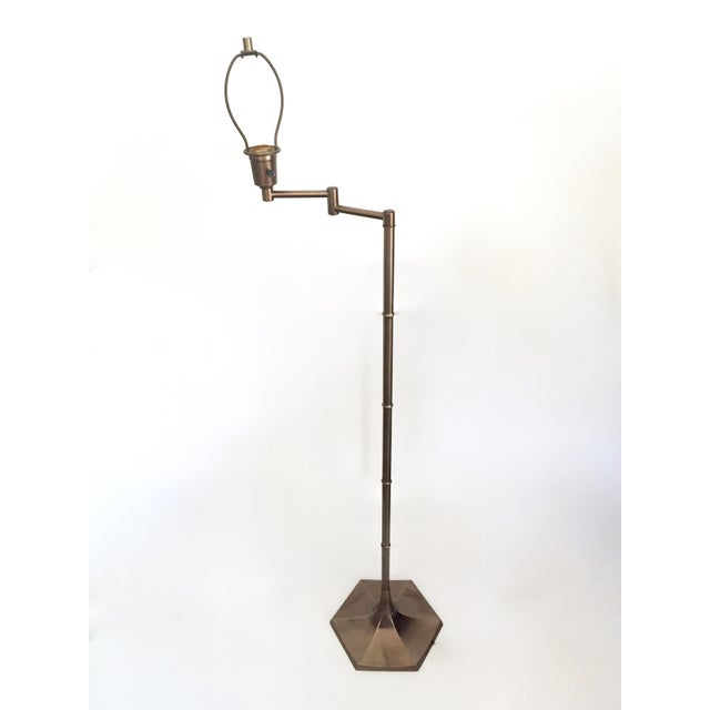 Mid-Century Brass Faux Bamboo Swing Arm Floor Lamp - Image 3 of 8