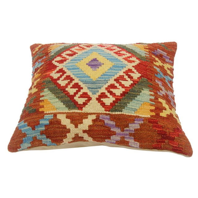 "Chet Red/Lt. Blue Hand-Woven Kilim Throw Pillow(18""x18"") For Sale - Image 4 of 6"