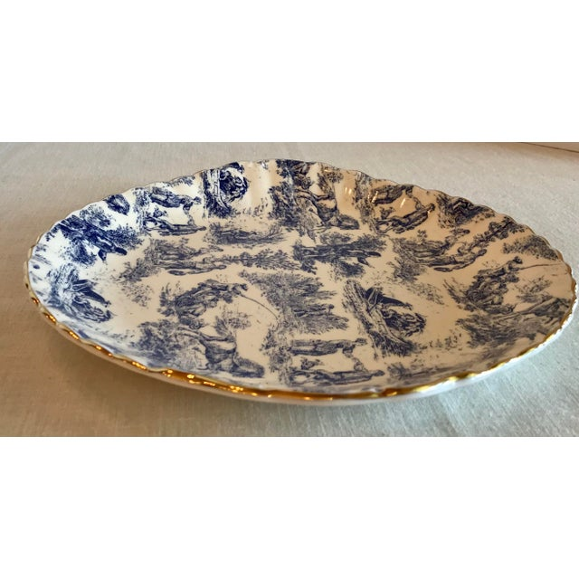 Blue & White Staffordshire Toile Platter For Sale - Image 5 of 9