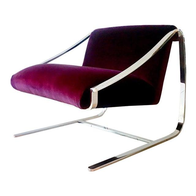 Single Original Plaza Velvet Upholstered Lounge Chair by Brueton 1970s For Sale