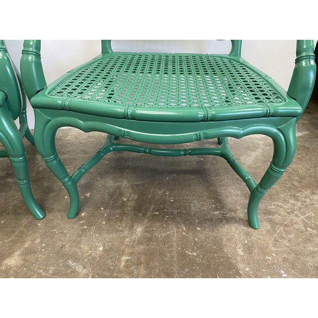 Green Vintage Green Lacquered Cane Chairs - a Pair For Sale - Image 8 of 13