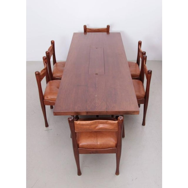 Mahogany Stunning Large Mahogany Dining Table by Silvio Coppola, Bernini Italy, 1960s For Sale - Image 7 of 8