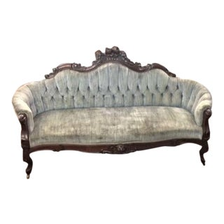 19th Century Victorian Walnut Floral Carved Sofa