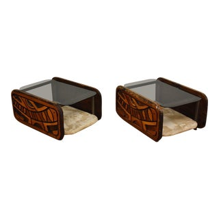 Astract Router Cut End Tables - a Pair For Sale