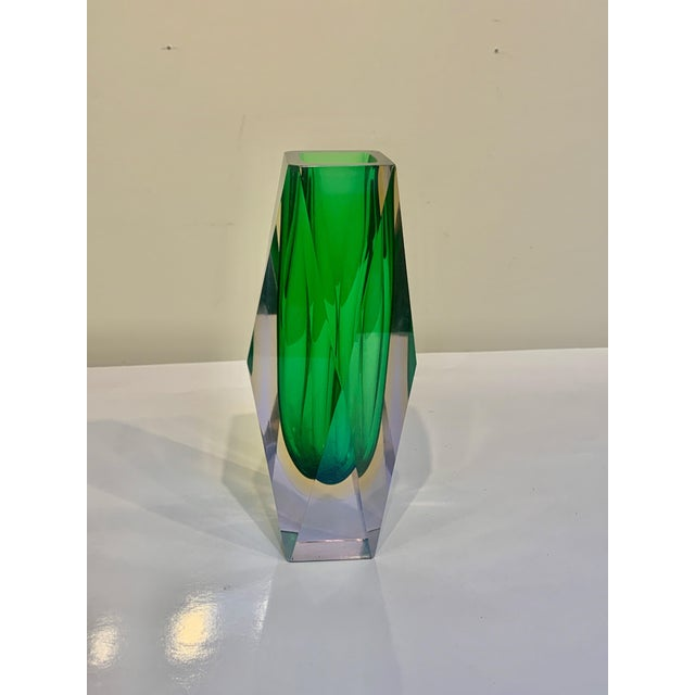 1970s Mid Century Murano Green Faceted Sommerso Vase by Flavio Poli For Sale - Image 5 of 8