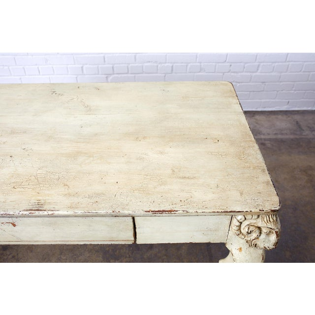 Wood Rustic Italian Lacquered Ram's Head Motif Writing Table For Sale - Image 7 of 13