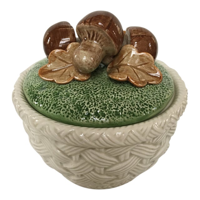 1980's Hand Painted Fitz and Floyd Basketweave Mushroom & Oak Leaf Covered Dish For Sale
