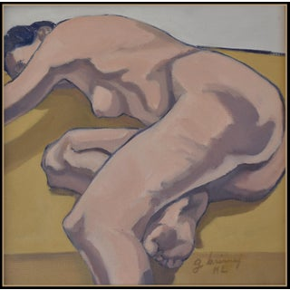 Lady on Ochre Throw' From the Five Piece Series of Figures Studies Oil Painting by American Expressionist, George Brinner For Sale