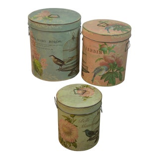 Vintage Chic Bird Metal Storage Containers - Set of 3 For Sale