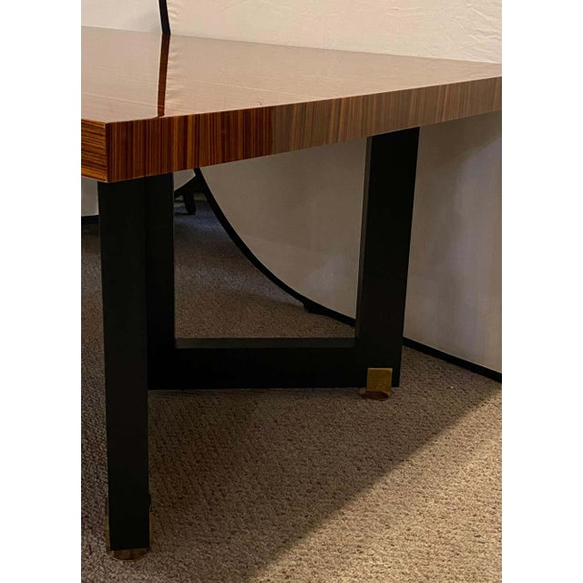 Brown Lorin Marsh Dining Conference Table Smorgasbord Lacquered Zebra-Wood and Brass For Sale - Image 8 of 12