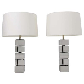 Curtis Jere Style Polished Chrome Table Lamps - a Pair For Sale