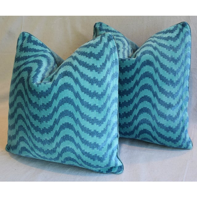 "Cotton Schumacher Velvet & Linen Feather/Down Pillows 21"" Square - Pair For Sale - Image 7 of 13"