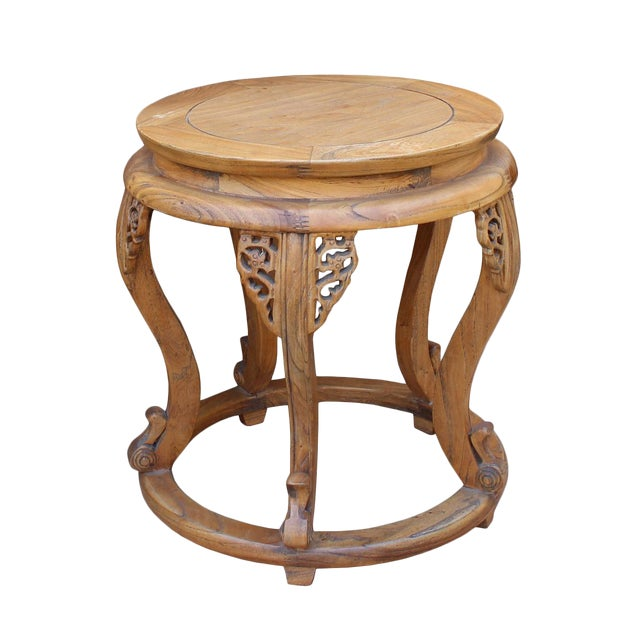 Chinese Round Curved Legs Wood Stool Table For Sale