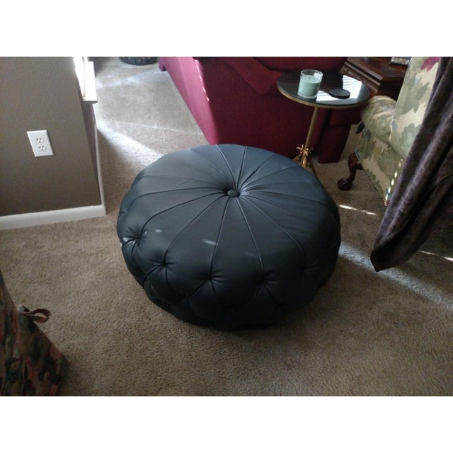Modern Gambrell Renard Navy Leather Tufted Bench For Sale - Image 3 of 4