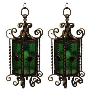 Wrought Iron Lanterns - A Pair For Sale